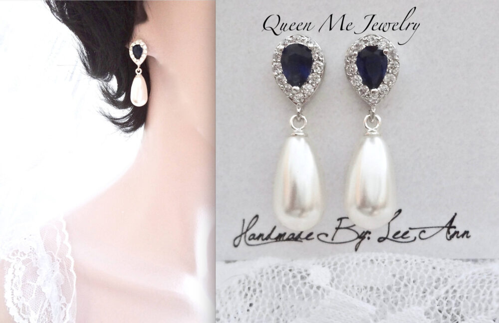 Pearl Drop Earrings With Cz Blue Sapphire Tops, Something Earrings, Mother Of The Bride Wedding Bridal Jewelry