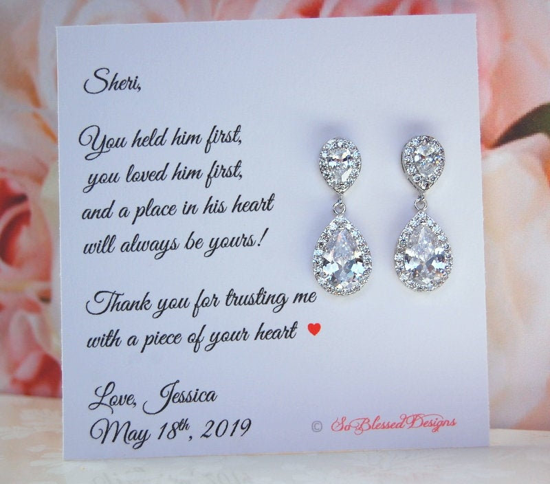 Custom Mother Of The Groom Gift, Bride Wedding Gift Set, in Law Earrings, , Future Mil