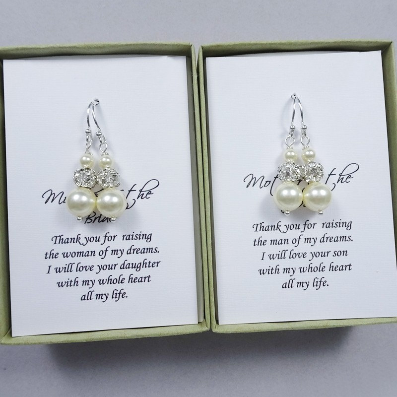 Swarovski Ivory Pearl Earrings, Mother Of The Bride Gift Groom Wedding Earrings