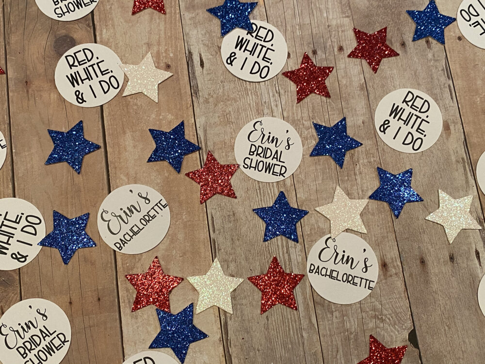 Custom Red, White, & I Do Bachelorette Party Confetti, Patriotic 4Th Of July Decor, Wedding, Bride