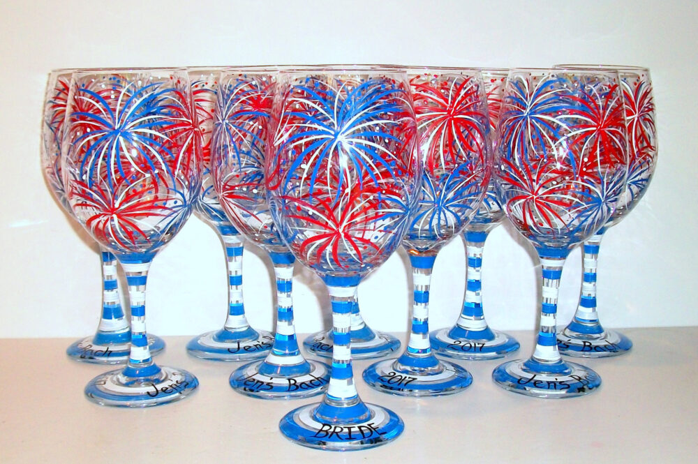 July 4Th, Fireworks, Red White & Blue Set Of 10 - 21 Oz Hand Painted Wine Glasses Wedding Summer Party Fourth Independence Day