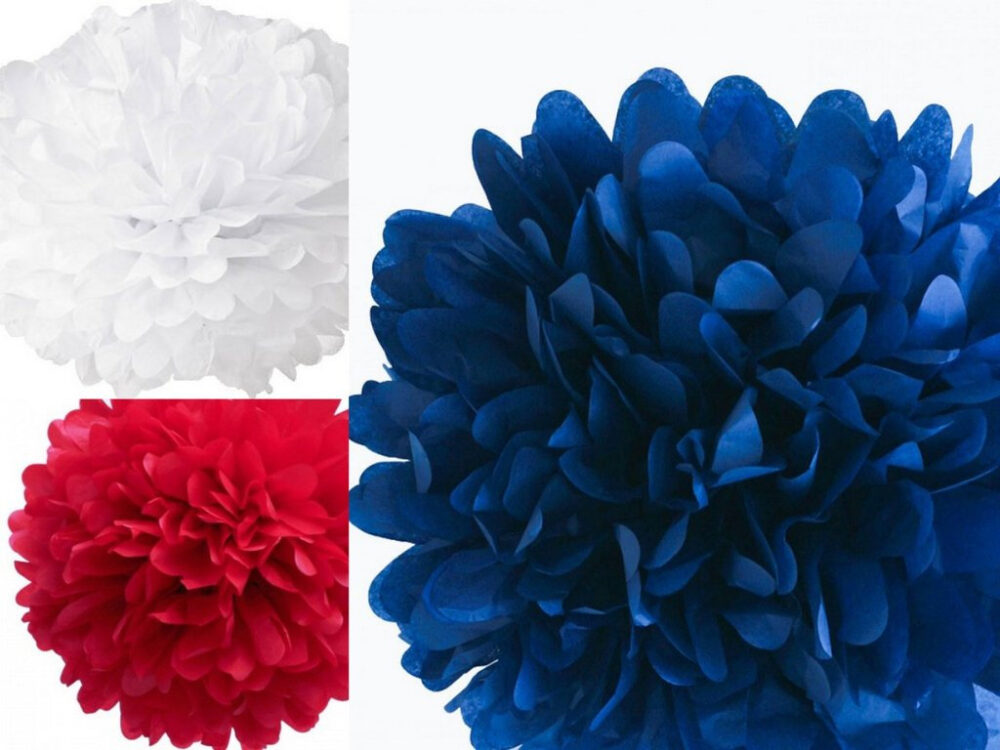 "Red, White & Blue Pom Set Of Three 18"" Tissue Paper Pom Poms, Red, 4Th Fourth July Decorations, Bbq Party"