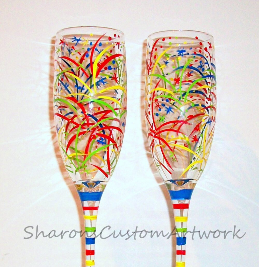 New Years Eve Fireworks Hand Painted Set Of 2 Champagne Flutes, Birthday Gift, Independence Day, July 4Th, Fourth