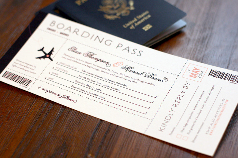Boarding Pass Wedding Invitation, Destination Invitations, Pass, Travel Theme Wedding, Airplane Invitation