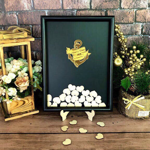 Black Wedding Guest Book Alternative, Wedding Guestbook, Alternative Drop Box, Drop Top Guestbook, Wedding Shadow Heart Guestbook