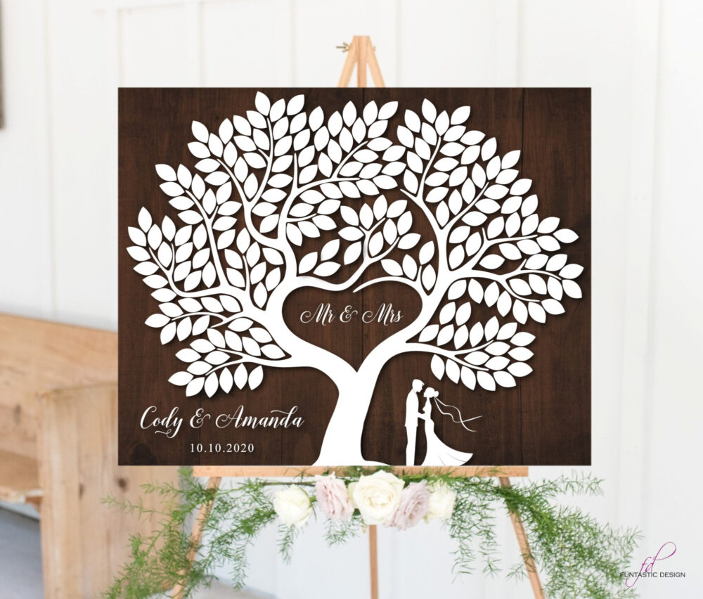 Wedding Guest Book Alternative Wood Guest Book Signature Tree With 200 Leaves Wooden Sign Rustic Wedding Guestbook Canvas