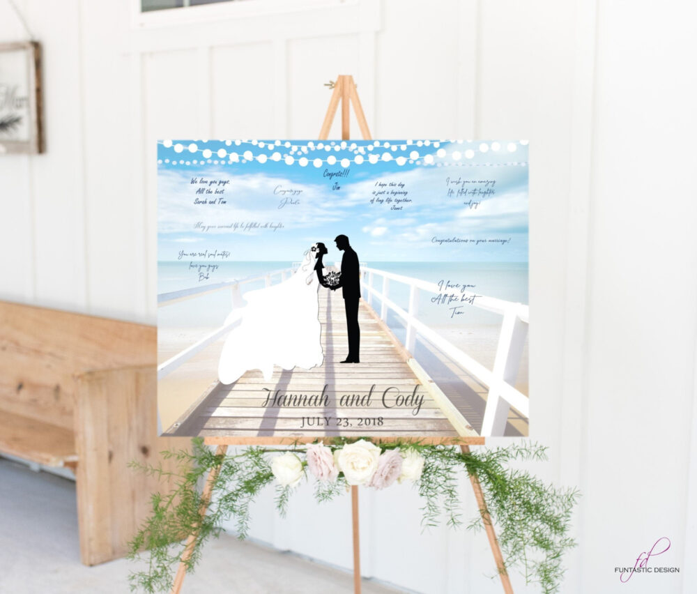 Beach Wedding Guest Book Alternative Canvas, Custom Guest Book Alternative Sign, Destination Wedding Board, Summer Ideas