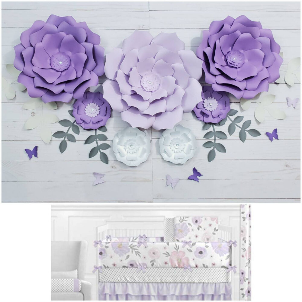 Purple & White Large Flowers Nursery Wall. Seven 3D Paper Flowers. Girls Room Floral Lavender Wall Decor Inspired By Sweet Jojo Bedding