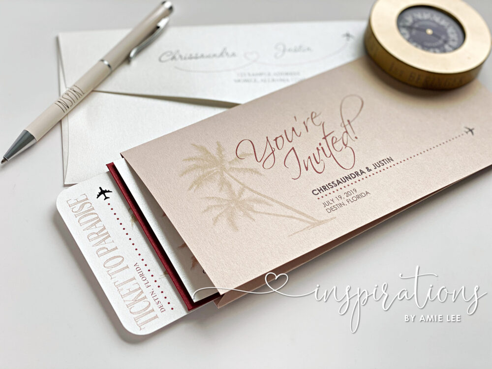 Boarding Pass Wedding Invitations, Destination Wedding, Beach Island Tropical Travel Ticket Invitations