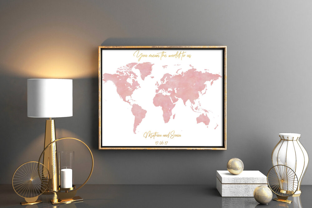 Rose Pink Wedding Guestbook Blush Coral World Map Guest Book Map Wedding Muddy Blush Orchid