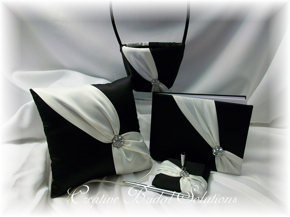 Black & Ivory Wedding Flower Girl Basket, Ring Pillow, Guest Book, Pen - Diagonal, Pillow