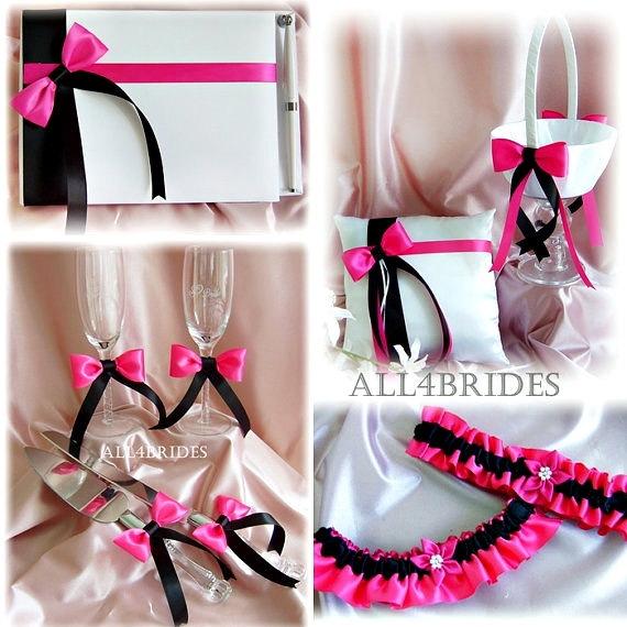 Hot Pink Fuchsia & Black Wedding Flower Girl Basket Ring Pillow Guest Book Bridal Garters Cake Set Flutes 9Pc
