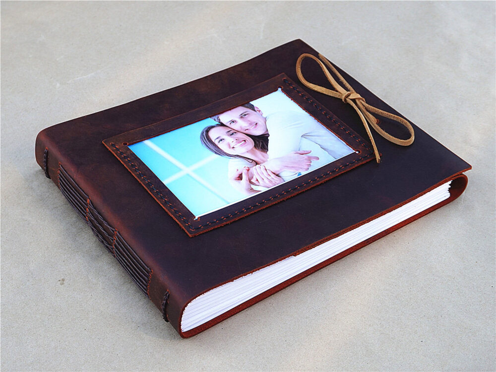 Handmade Leather Photo Album Custom Wedding Unique Baby Personalized Scrapbook Album Guest Book