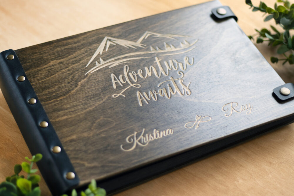 Adventure Awaits Album, Our Adventure, Wedding Photo Album Honeymoon Travel 4x6 Guest Book Custom