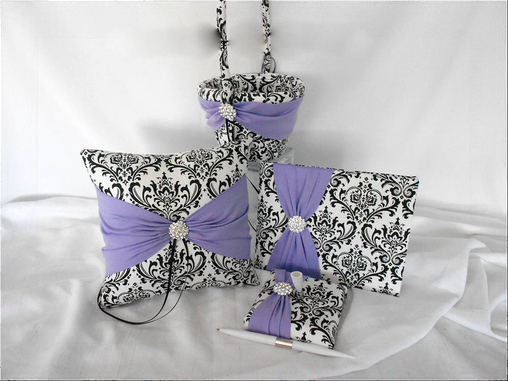 Black & White Madison Damask With Violet Wedding Ring Pillow, Flower Girl Basket, Guest Book, Pen