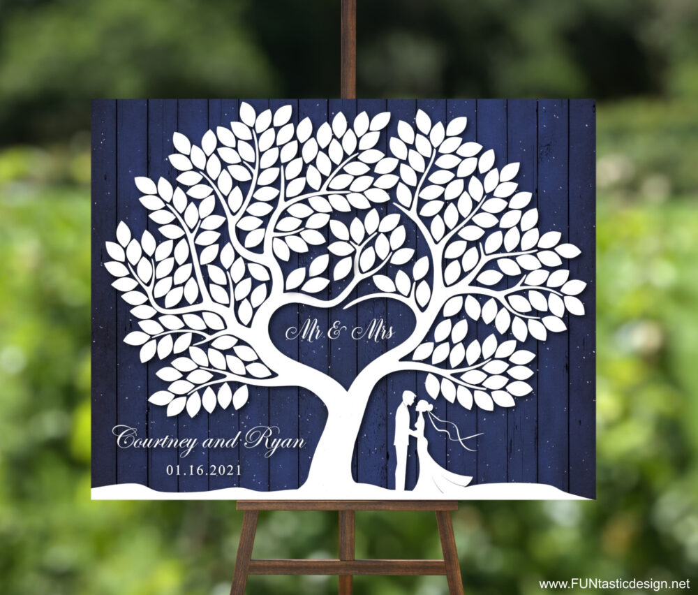 Winter Wedding Guest Book Alternative Canvas Tree Signature With 200 Leaves Wooden