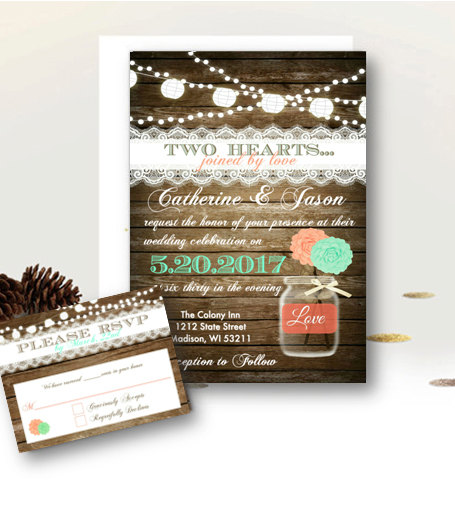 Rustic Wedding Invitation Set Mason Jar - Coral & Teal Mint Wood Rustic Floral Country Wedding Vintage Invite With Rsvp Insert