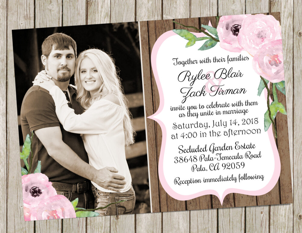 Pink & Wood Wedding Invitation, Floral Rustic Invite With Photo, Shabby Chic Invite
