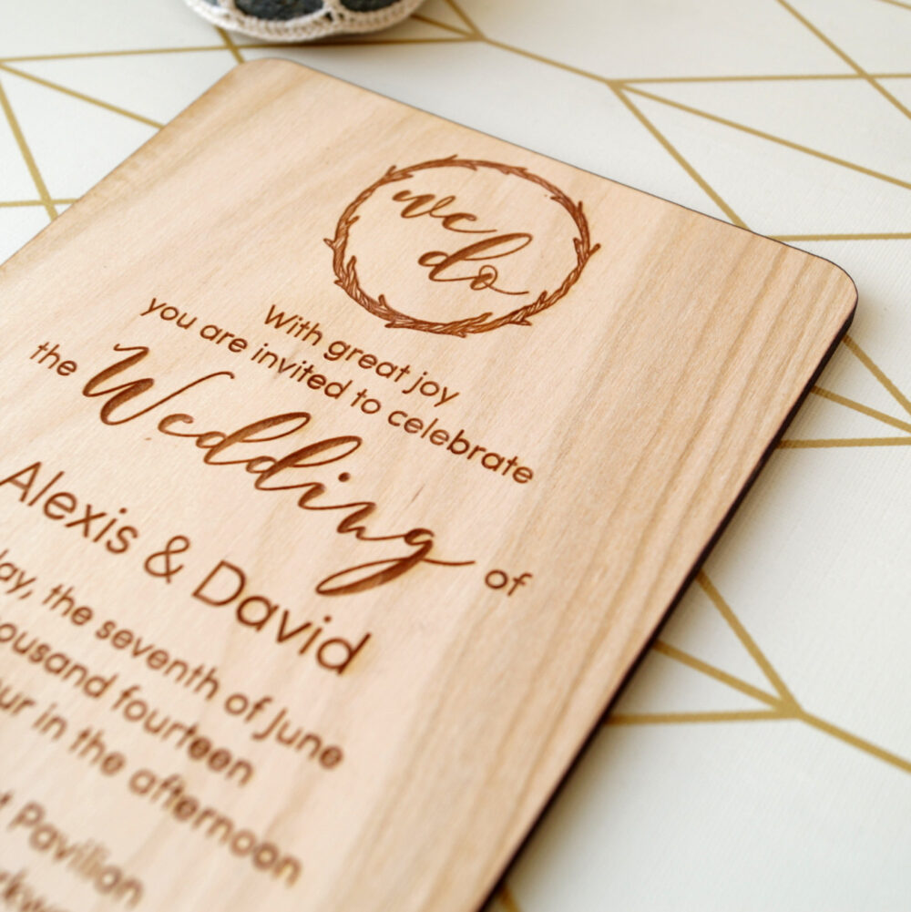 Wooden Wedding Invitation, Rustic Invites, Real Wood Invitations, Laser Engraved Your Choice Of Wood, Set 10