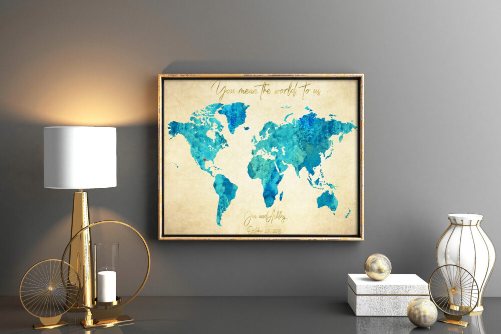 Vintage Styled Blue Turquoise Wedding Guestbook Old Paper World Map Guest Book Map You Mean The World To Us Gift