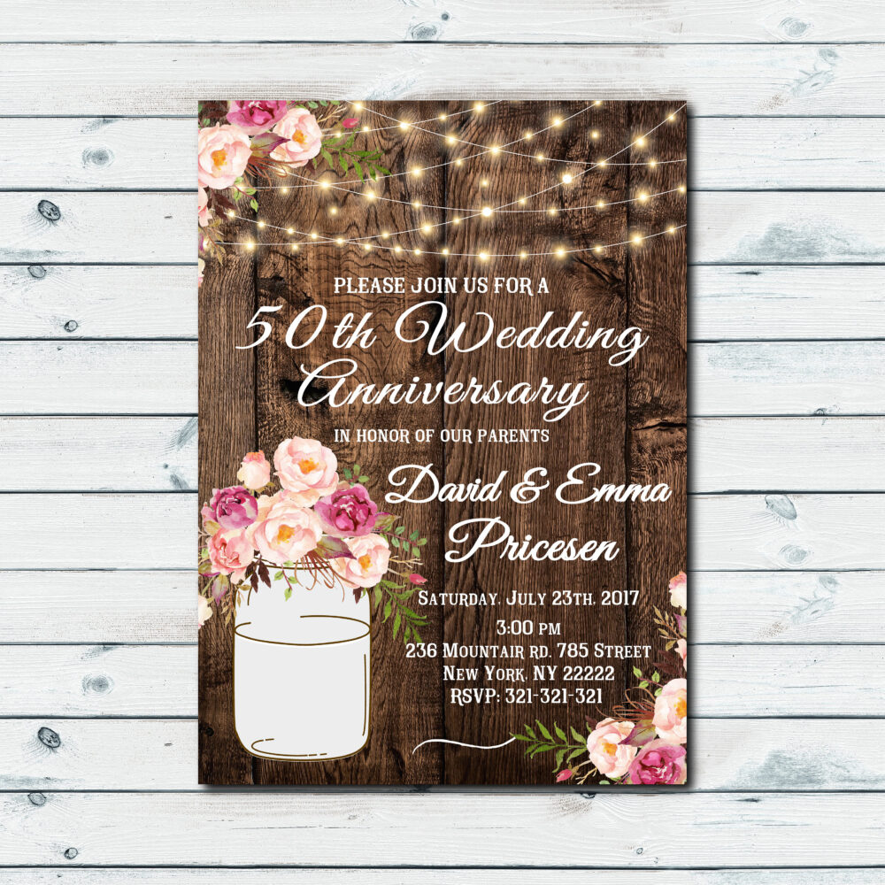 Country Rustic Wedding Invitations, Barn Wood Rustic Wedding Invitations, Mason Jar, Invitation, String Lights Invitation 1047