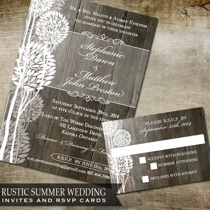 Rustic Summer Wedding Trees - Floral Invite & Rsvp Great For Spring Or Summer Wedding