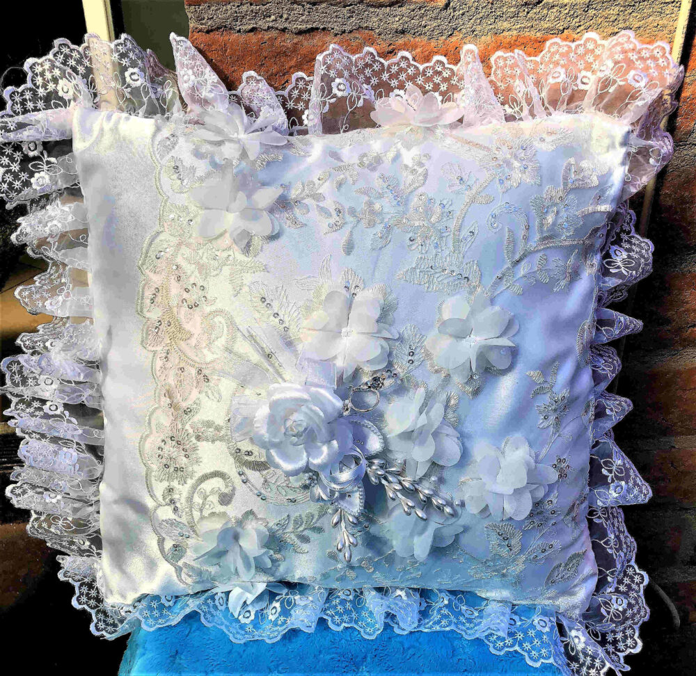 Recycled Wedding Gown, Recycled Wedding, Dress, Ring Bearer Pillow, Pillow Made From Moms Gown
