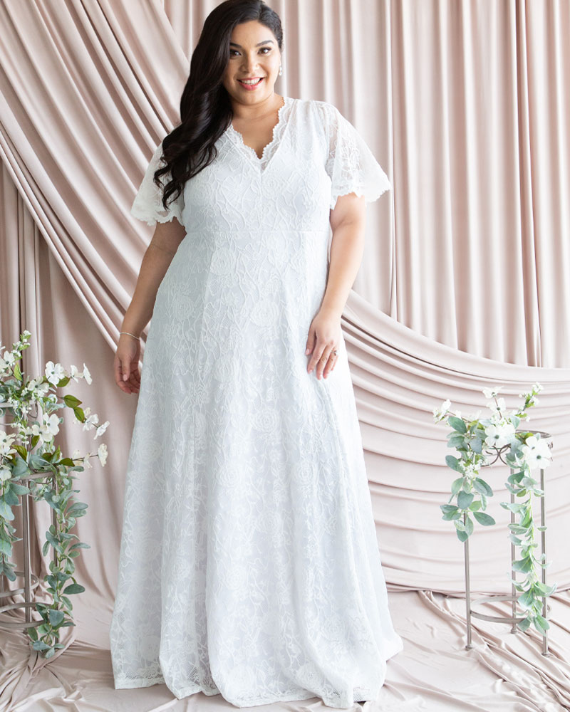 Kiyonna Womens Plus Size Blissful Lace Wedding Gown