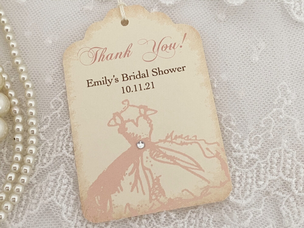 Bridal Shower Tags, Favor Thank You Pink Wedding Gown, Printed