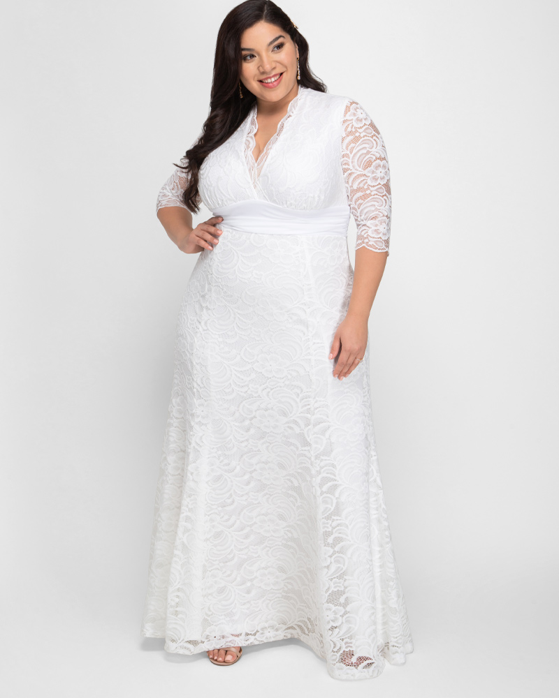 Kiyonna Womens Plus Size Amour Lace Wedding Gown