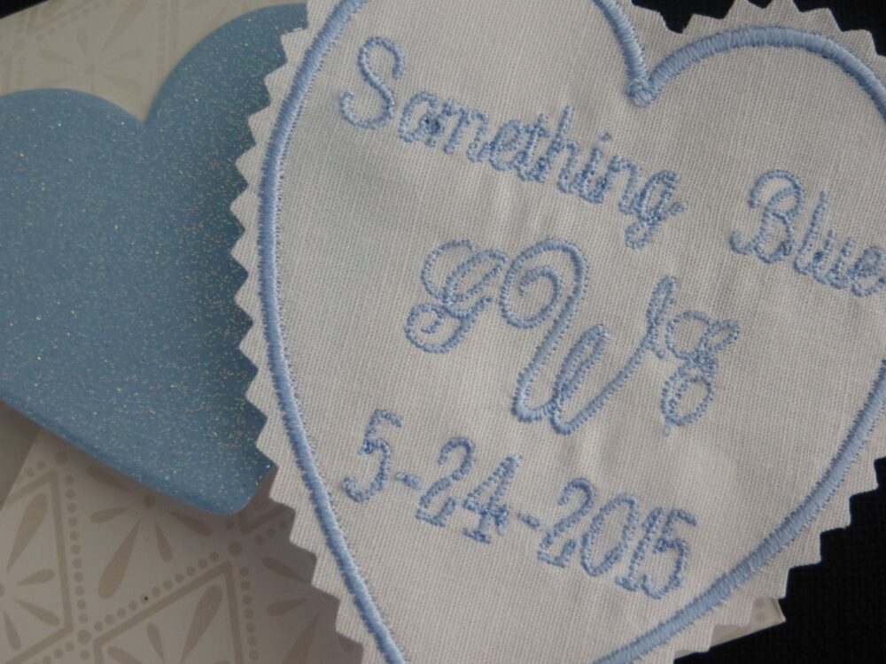 Something Blue-Embroidered Wedding Dress Patch. Tie Embroidered Monogrammed This Can Be Sewn in Your Wedding Gown