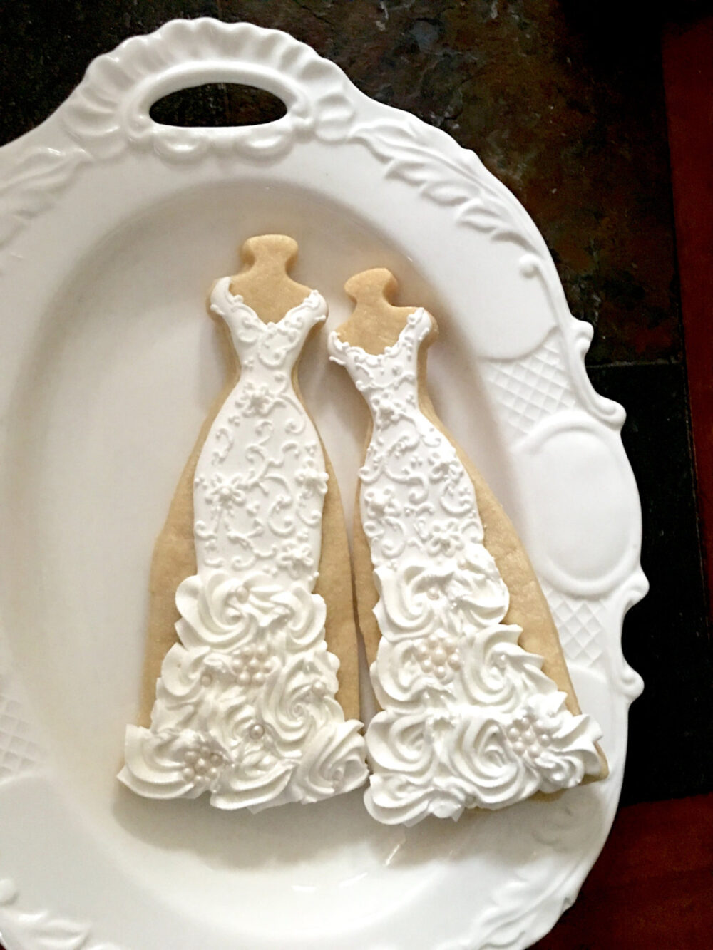 10 Lace, Rosette Ruffles, & Pearls Gown Cookies-Lace Wedding Dress Cookies, Bridal Shower