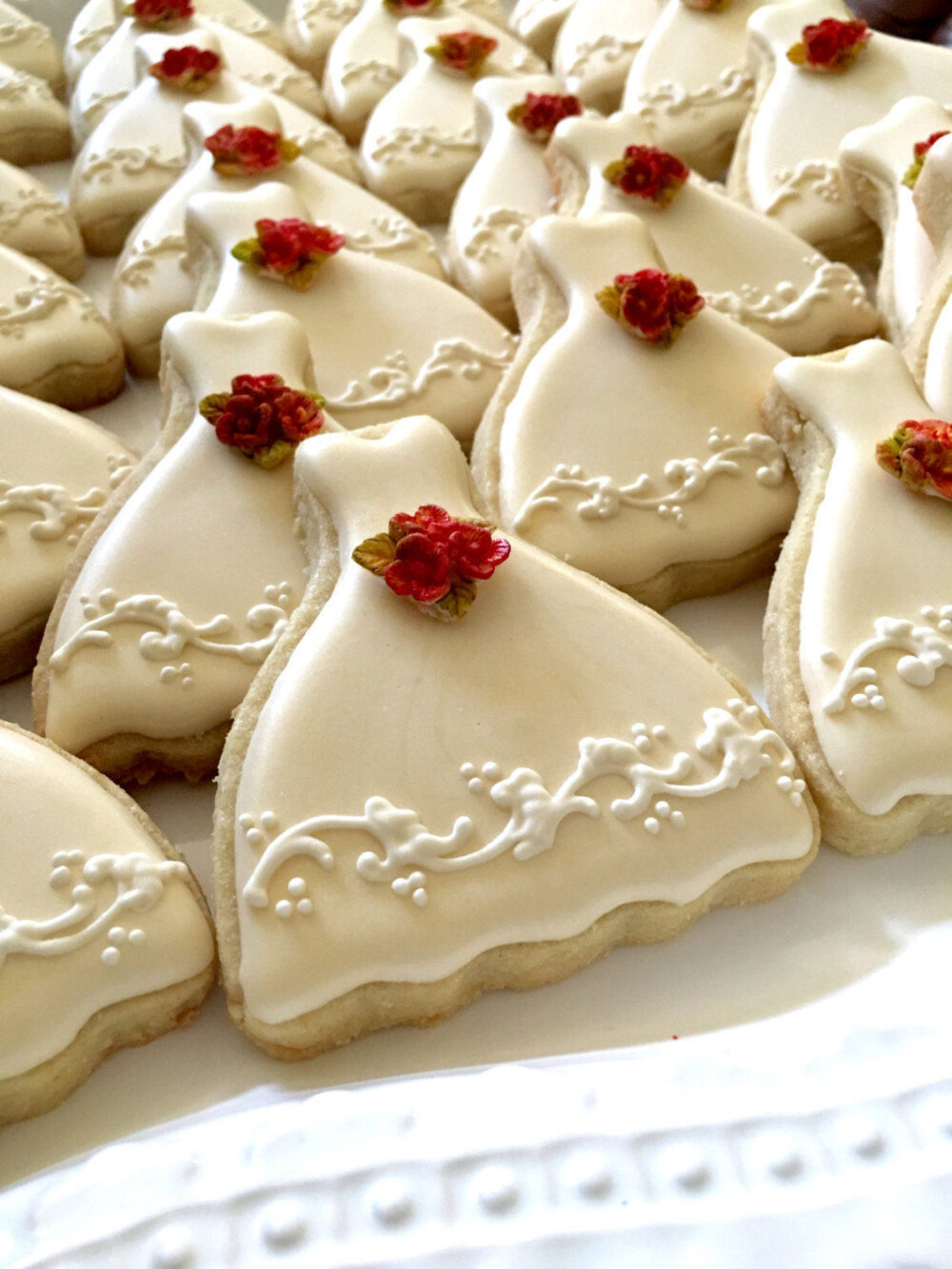 18 Pieces Petite Sized Wedding Dress Cookies - Cookie Favors, Cookies, Bridal Shower Wedding Gown Cookies