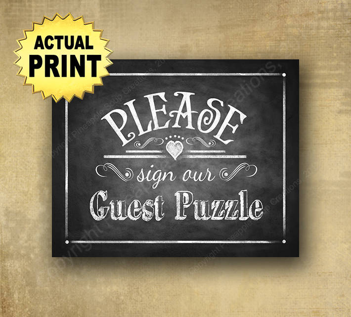 Wedding Puzzle Guestbook, Sign Our Puzzle, Signature Rustic Wedding Sign, Chalkboard Signs, Puzzle Print