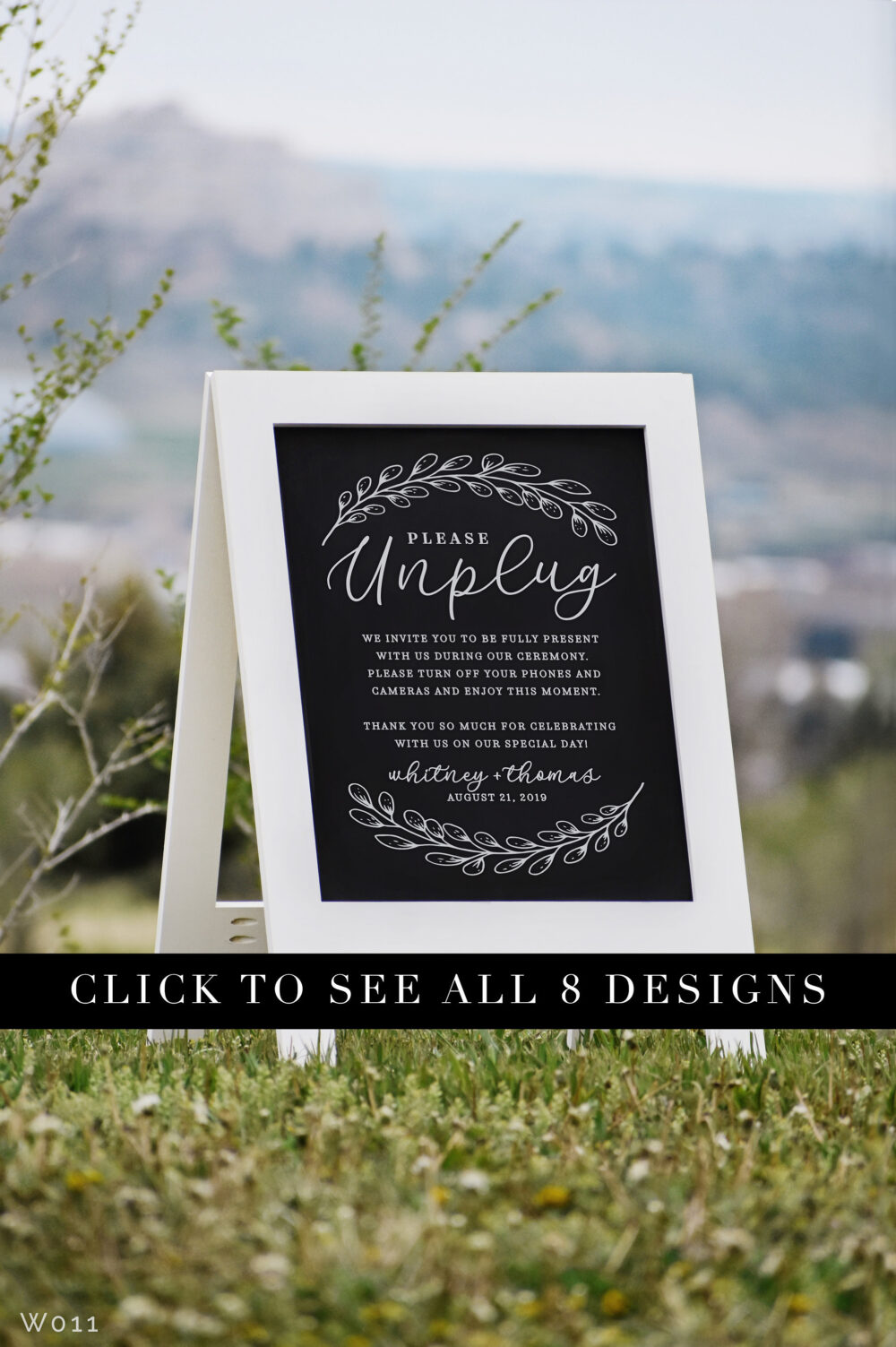 Unplugged Ceremony Sign With Easel - Rustic Welcome Wedding Chalkboard Signs | W011