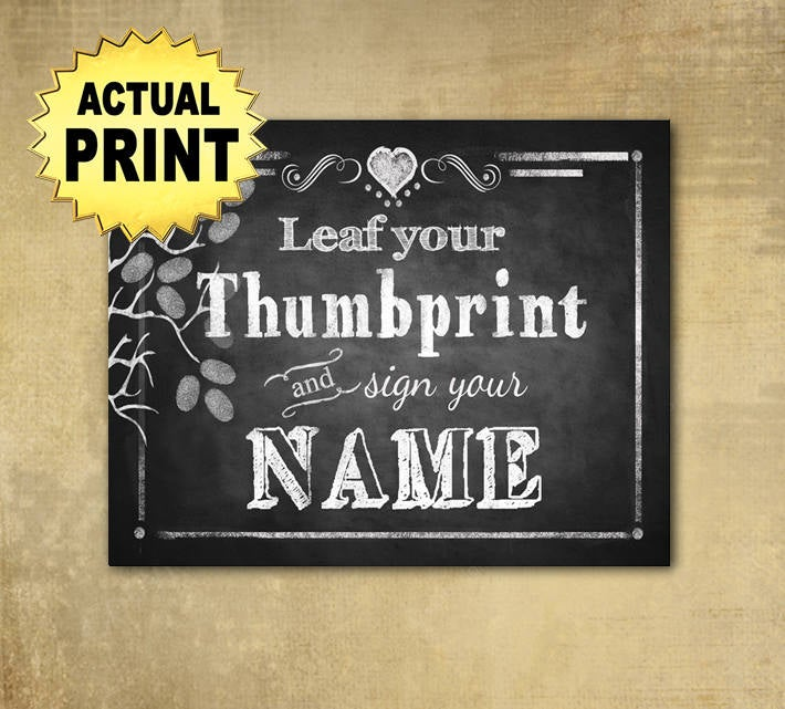 Leaf Your Thumbprint Wedding Sign, Guestbook, Chalkboard Wedding, Rustic Sign In, Baby Shower