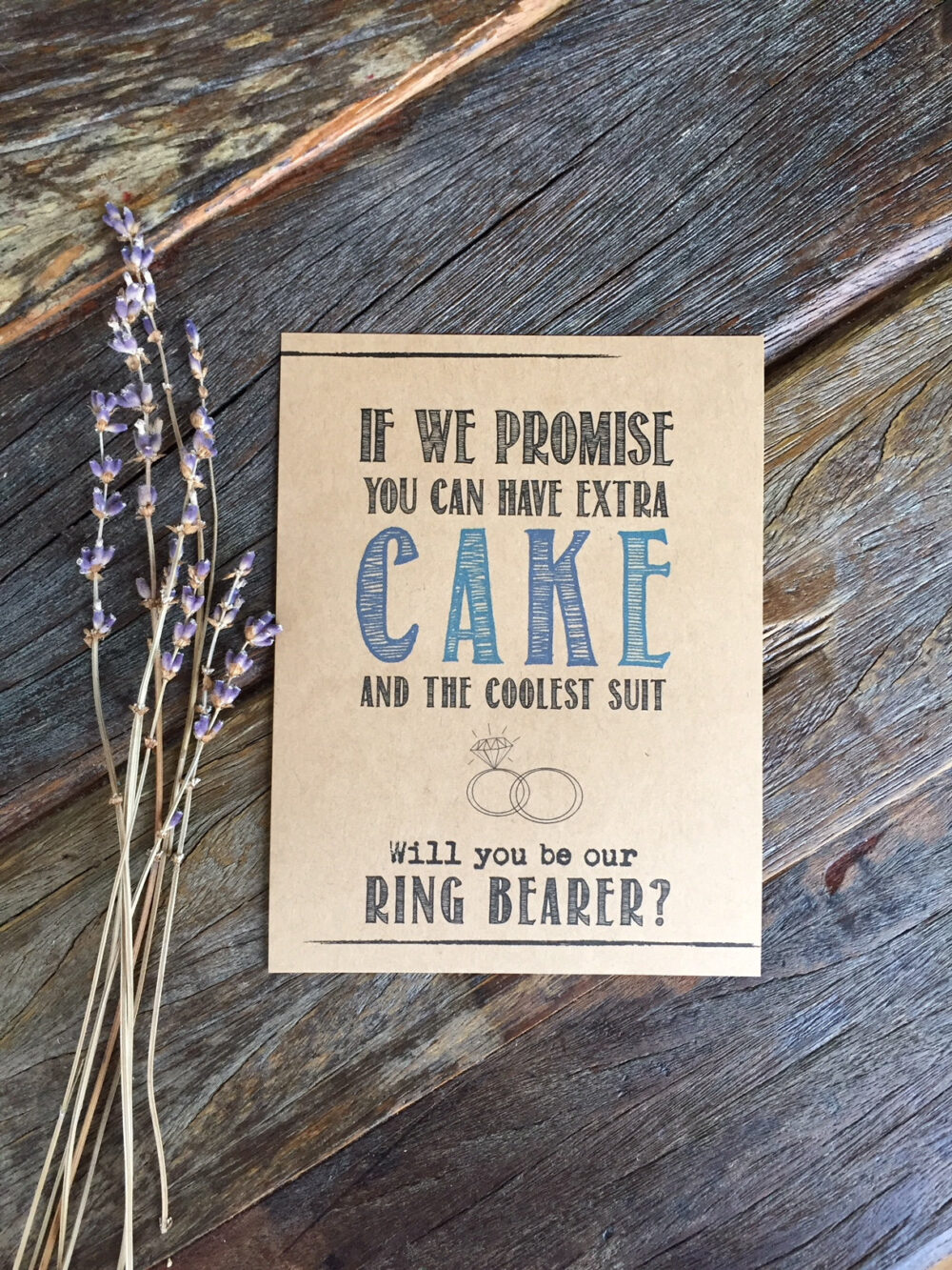 Ring Bearer Proposal. Outfit. Invite. Ask Flower Girl, Bridesmaid. Gift Card