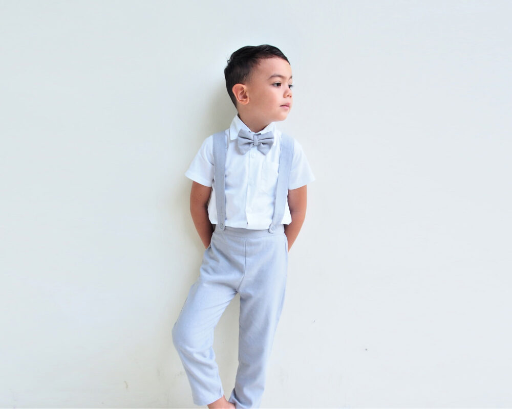 3 Pcs. Boy Linen Suit-Light Grey, Suspender Pants, Grey Suit, Page Outfit, Ring Bearer Suit, Baptism Boy, Linen Wedding Suit