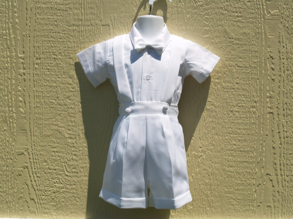 Boy's White Baptism Suit Short Pants Suspenders, Hat Bow Tie & Sleeves Shirt, Boys Christening, Blessing Day, Ring Bearer, White Outfit