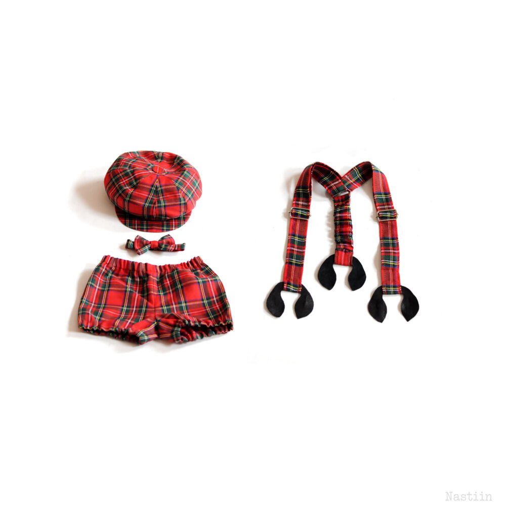 Baby Boy Tartan Outfit Newsboy Hat, Bow Tie, Suspenders & Diaper Cover, Ideal For First Birthday Outfit Or Wedding Ring Bearer Suit