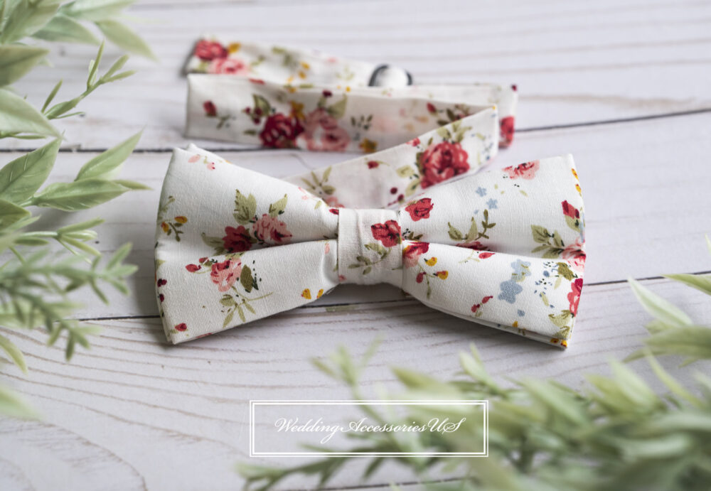 White Floral Bow Tie, Wedding Grooms Groomsmen Prom Homecoming