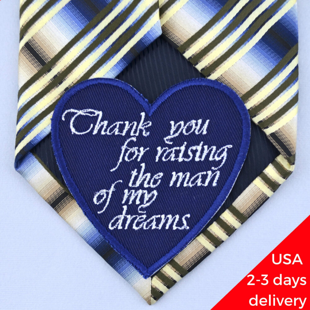 Father in Law Wedding Tie Patch Of The Groom Gift From Bride Embroidered Custom Label