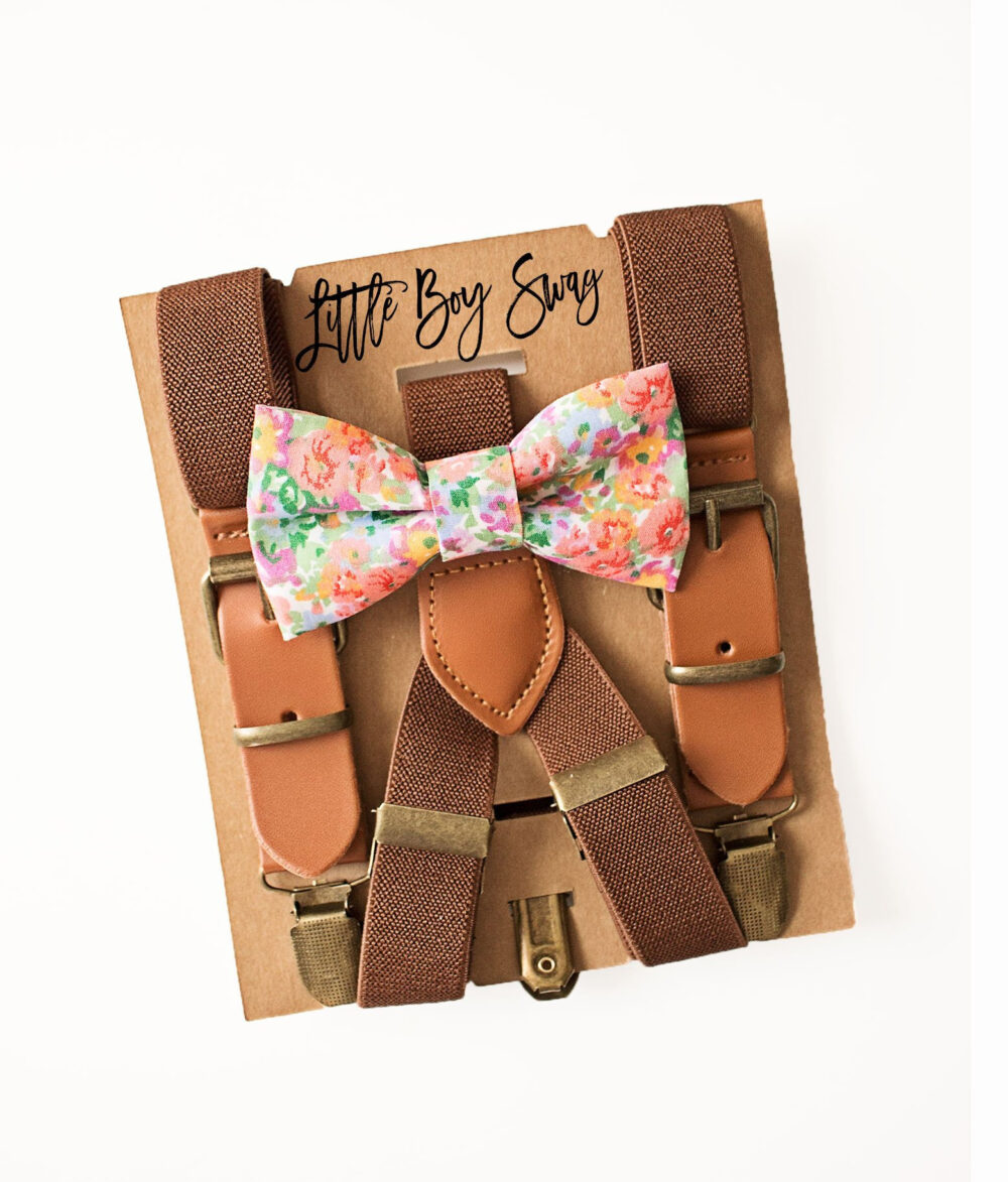 Boho Boy Floral Bow Tie & Rustic Brown Leather Suspenders For Wedding, Ring Bearer/Page Outfit, First Birthday, Cake Smash
