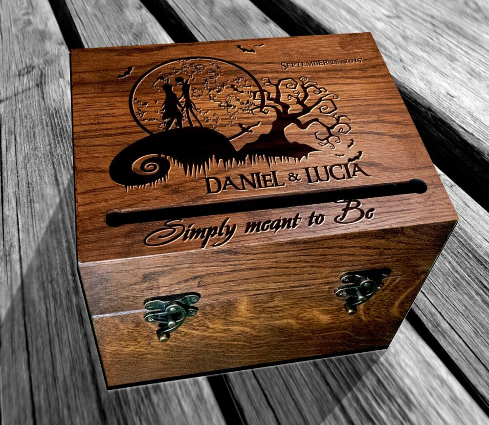 Jack Skellington Wedding Card Box & Sally Card Holder Rustic