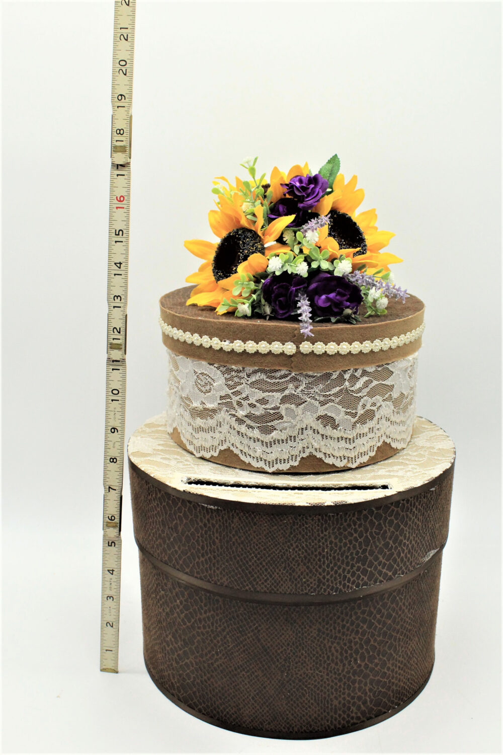 Wedding Rustic Card Box, Sunflower Gift Baby Shower Decorations - 4 Pieces