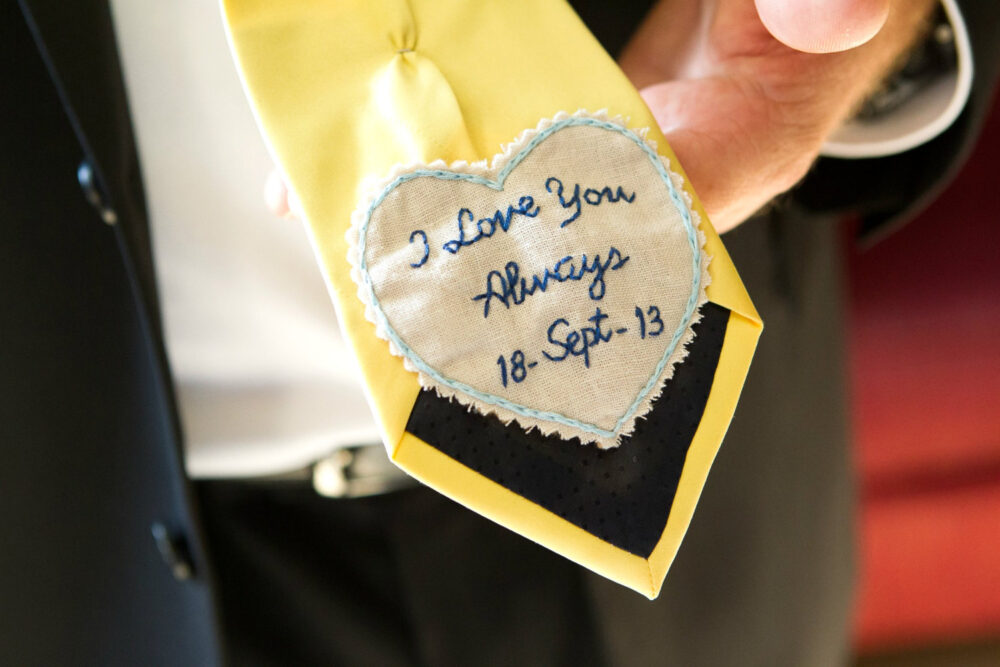 Wedding Tie Patch. Gift For Groom From Bride. Cotton Anniversary Him. Personalized Tie. Gift. Grooms