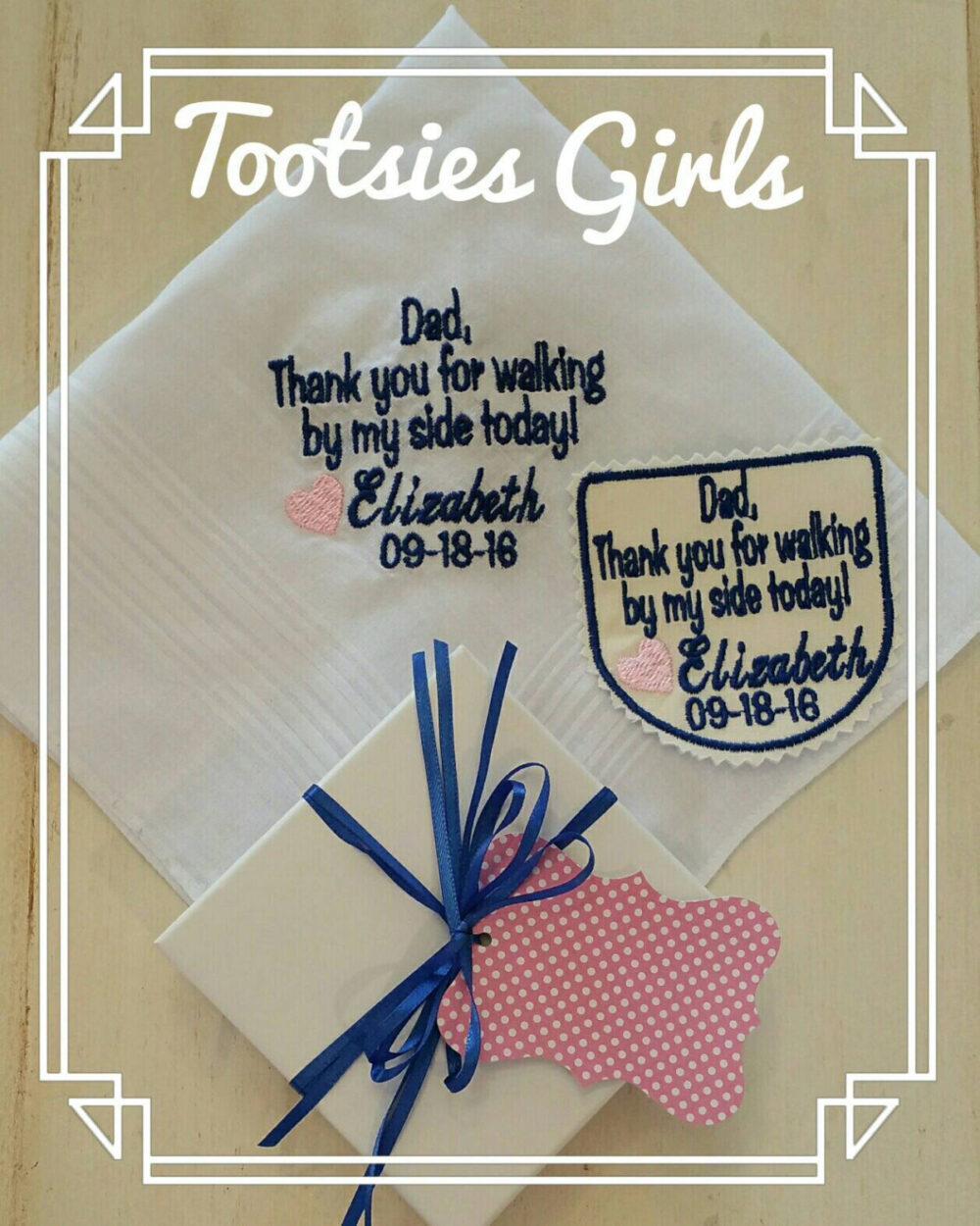 Wedding Tie Patch & Handkerchief Custom Embroidered With Name, Date, & Message. Unique Gift Set For Father Of The Bride, Groom, Grandpa
