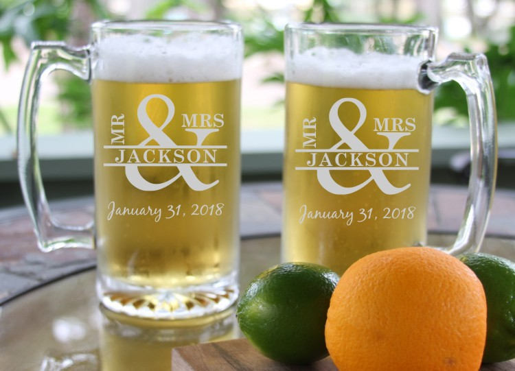 Personalized Beer Mug Engraved Groomsman Gift Wedding Fathers Day-Birthday Graduation Steins Glass