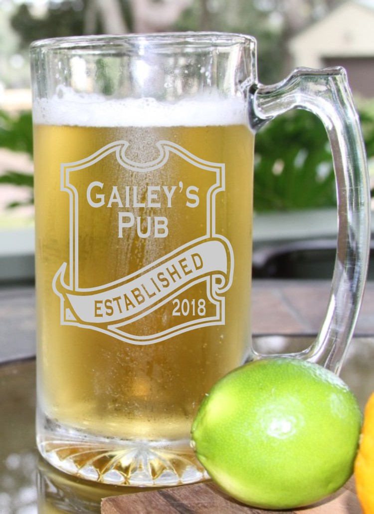 Personalized Beer Mug Engraved Free Engraving Groomsmen Gifts Wedding Party Steins 26.5 Oz Glass