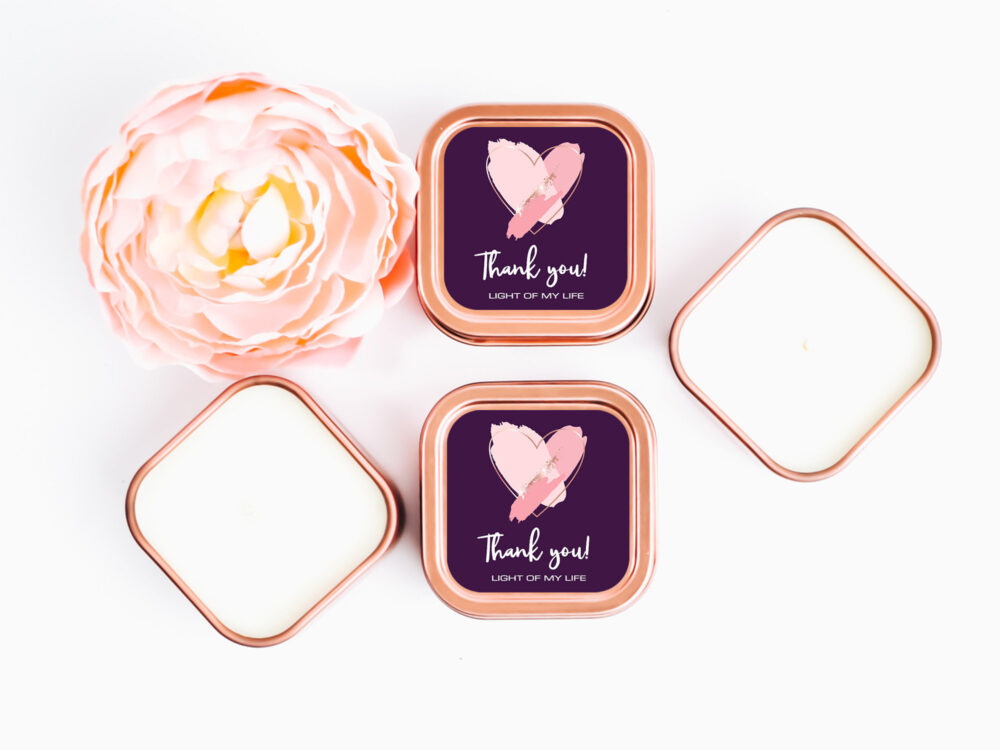 Heart Rose Gold Wedding Favors 12Ct Custom Candle Personalized Bulk Square